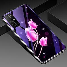 Handyhülle Silikon Hülle Rahmen Schutzhülle Spiegel Blumen für Huawei Honor 30S Rosa