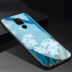 Handyhülle Silikon Hülle Rahmen Schutzhülle Spiegel Blumen für Huawei Mate 20 Blau