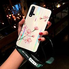 Handyhülle Silikon Hülle Rahmen Schutzhülle Spiegel Blumen für Huawei Nova 5 Rosa