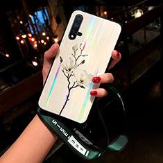 Handyhülle Silikon Hülle Rahmen Schutzhülle Spiegel Blumen für Huawei Nova 5 Weiß
