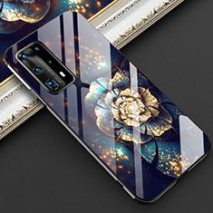 Handyhülle Silikon Hülle Rahmen Schutzhülle Spiegel Blumen für Huawei P40 Pro+ Plus Schwarz