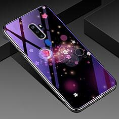 Handyhülle Silikon Hülle Rahmen Schutzhülle Spiegel Blumen für Oppo A5 (2020) Violett