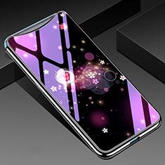 Handyhülle Silikon Hülle Rahmen Schutzhülle Spiegel Blumen für Oppo Find X Violett