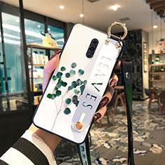 Handyhülle Silikon Hülle Rahmen Schutzhülle Spiegel Blumen für Oppo K3 Grün