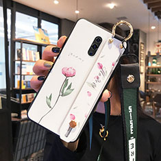 Handyhülle Silikon Hülle Rahmen Schutzhülle Spiegel Blumen für Oppo K3 Weiß