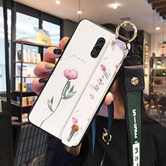 Handyhülle Silikon Hülle Rahmen Schutzhülle Spiegel Blumen für Oppo Realme X Weiß