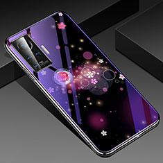 Handyhülle Silikon Hülle Rahmen Schutzhülle Spiegel Blumen für Vivo X50 Pro 5G Violett
