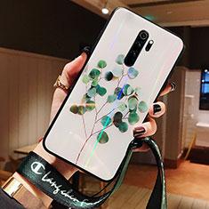 Handyhülle Silikon Hülle Rahmen Schutzhülle Spiegel Blumen für Xiaomi Redmi Note 8 Pro Grün