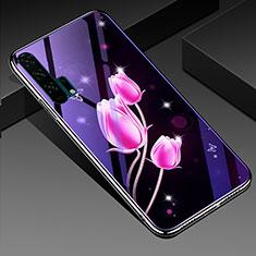Handyhülle Silikon Hülle Rahmen Schutzhülle Spiegel Blumen K02 für Huawei Honor 20 Pro Pink
