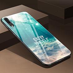 Handyhülle Silikon Hülle Rahmen Schutzhülle Spiegel Blumen P01 für Huawei P20 Cyan