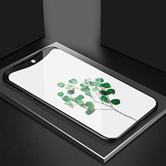 Handyhülle Silikon Hülle Rahmen Schutzhülle Spiegel Blumen S02 für Oppo Find X Grün