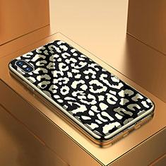 Handyhülle Silikon Hülle Rahmen Schutzhülle Spiegel Modisch Muster für Apple iPhone Xs Schwarz