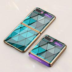 Handyhülle Silikon Hülle Rahmen Schutzhülle Spiegel Modisch Muster für Samsung Galaxy Z Flip Cyan