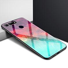 Handyhülle Silikon Hülle Rahmen Schutzhülle Spiegel Modisch Muster K01 für Huawei Honor V20 Cyan