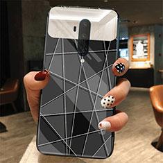 Handyhülle Silikon Hülle Rahmen Schutzhülle Spiegel Modisch Muster K01 für OnePlus 7T Pro Schwarz