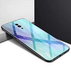 Handyhülle Silikon Hülle Rahmen Schutzhülle Spiegel Modisch Muster S01 für Oppo Reno Cyan
