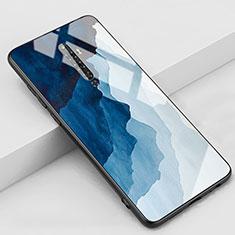 Handyhülle Silikon Hülle Rahmen Schutzhülle Spiegel Modisch Muster S01 für Oppo Reno2 Z Blau