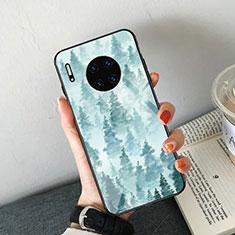 Handyhülle Silikon Hülle Rahmen Schutzhülle Spiegel Modisch Muster S02 für Huawei Mate 30 Hellblau