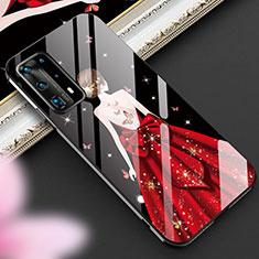 Handyhülle Silikon Hülle Rahmen Schutzhülle Spiegel Motiv Kleid Mädchen für Huawei P40 Pro+ Plus Rot
