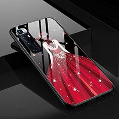 Handyhülle Silikon Hülle Rahmen Schutzhülle Spiegel Motiv Kleid Mädchen für Xiaomi Mi 10 Ultra Rot