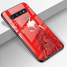 Handyhülle Silikon Hülle Rahmen Schutzhülle Spiegel Motiv Kleid Mädchen K01 für Samsung Galaxy S10 Rot