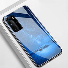 Handyhülle Silikon Hülle Rahmen Schutzhülle Spiegel Sternenhimmel S01 für Huawei P40 Pro Blau