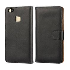 Handytasche Flip Schutzhülle Leder für Huawei G9 Lite Schwarz