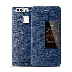 Handytasche Flip Schutzhülle Leder für Huawei P9 Plus Blau