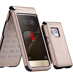 Handytasche Flip Schutzhülle Leder für Samsung W(2017) Gold