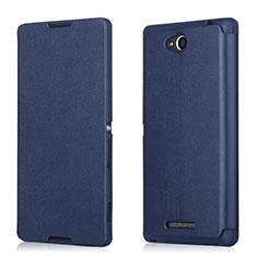 Handytasche Flip Schutzhülle Leder für Sony Xperia C S39h Blau