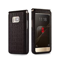 Handytasche Flip Schutzhülle Leder Krokodil C01 für Samsung W(2016) Braun