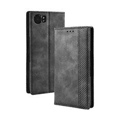 Handytasche Stand Schutzhülle Flip Leder Hülle für Blackberry KEYone Schwarz