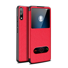 Handytasche Stand Schutzhülle Flip Leder Hülle für Huawei Enjoy 10 Rot