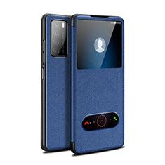 Handytasche Stand Schutzhülle Flip Leder Hülle für Huawei Honor Play4 5G Blau