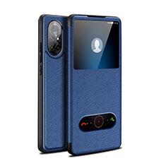 Handytasche Stand Schutzhülle Flip Leder Hülle für Huawei Nova 8 5G Blau