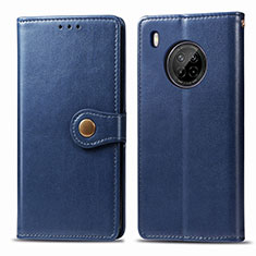 Handytasche Stand Schutzhülle Flip Leder Hülle für Huawei Y9a Blau