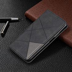 Handytasche Stand Schutzhülle Flip Leder Hülle für LG G8 ThinQ Schwarz