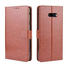 Handytasche Stand Schutzhülle Flip Leder Hülle für LG G8X ThinQ Braun