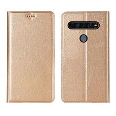 Handytasche Stand Schutzhülle Flip Leder Hülle für LG K51S Gold