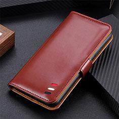 Handytasche Stand Schutzhülle Flip Leder Hülle für LG K52 Braun