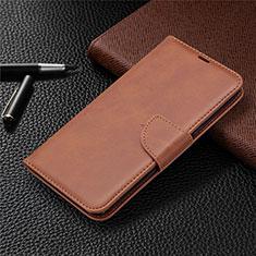 Handytasche Stand Schutzhülle Flip Leder Hülle für LG K61 Braun