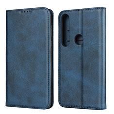 Handytasche Stand Schutzhülle Flip Leder Hülle für Motorola Moto G8 Plus Blau