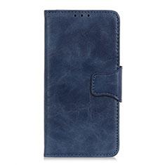 Handytasche Stand Schutzhülle Flip Leder Hülle für Motorola Moto One Fusion Blau