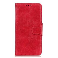 Handytasche Stand Schutzhülle Flip Leder Hülle für Motorola Moto One Fusion Rot