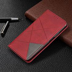 Handytasche Stand Schutzhülle Flip Leder Hülle für Motorola Moto One Zoom Rot