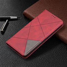 Handytasche Stand Schutzhülle Flip Leder Hülle für Nokia 3.4 Rot
