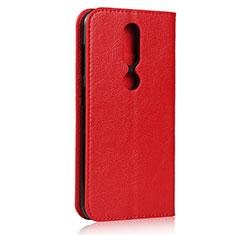 Handytasche Stand Schutzhülle Flip Leder Hülle für Nokia 4.2 Rot