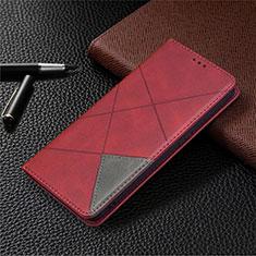 Handytasche Stand Schutzhülle Flip Leder Hülle für Oppo A15 Rot