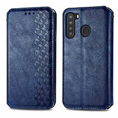 Handytasche Stand Schutzhülle Flip Leder Hülle für Samsung Galaxy A21 Blau