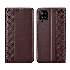 Handytasche Stand Schutzhülle Flip Leder Hülle für Samsung Galaxy A42 5G Braun